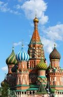 colorful domes of saint basil's cathedral at blue sky, russia, moscow