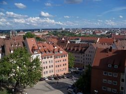 roof view of apartments in town, germany, nuremberg