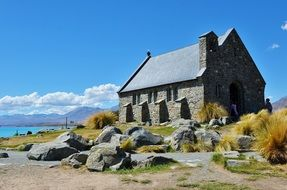 shepherd's chapel, stone building at sea, new zealand