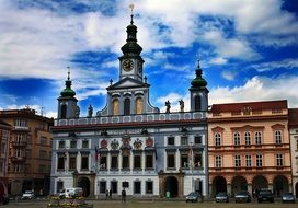 baroque town hall building on square, czech, budejovice