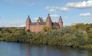 castle johannisburg aschaffenburg river green forest