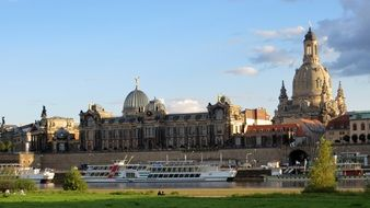 ships ol elbe river in view of frauenkirche, germany, dresden