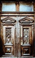 old wooden ornamented doors, ukraine, lviv