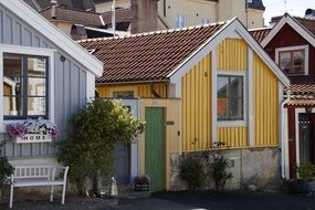 colorful boathouses in Kalmar
