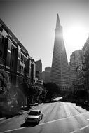 black and white photo of skyscrapers in San Francisco