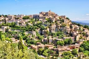 beautiful landscape with old village on mountain, france, provence, sault