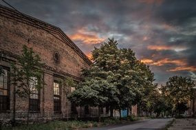 old industrial building at the dusk