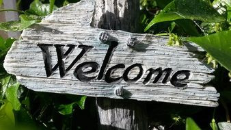 welcome sign garden decoration