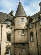 victorian building wish conical roof, uk, scotland, sterling