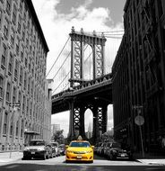 yellow taxi new york bridge view