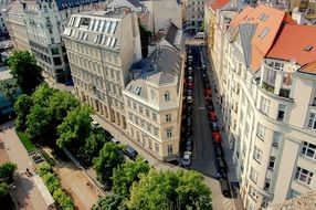 roof view of new apartments on street in city, austria, vienna