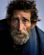 coloured picture homeless man