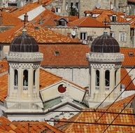 roof view of church with two bell towers in old town, croatia, dubrovnik