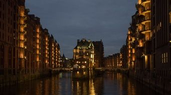 speicherstadt at night , germany, hamburg