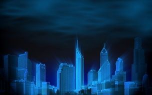blue skyscrapers with beams of light at dark sky