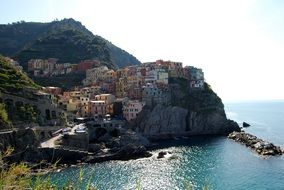 houses on the mountain near the sea in the village of Manarola, The Cinque Terre, the Liguria region of Italy