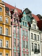 old colorful houses at city market, poland, wroclaw