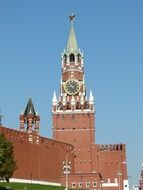 Spasskaya kremlin tower with clocks at sky, russia, moscow
