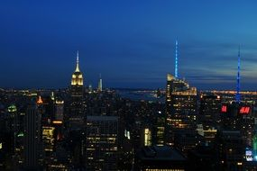new york city skyline at night, usa, manhattan