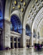 vaulted ceiling in interior of union station, usa, washington dc