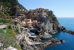 manarola, colorful houses on cliff above sea, italy, liguria, cinque terre