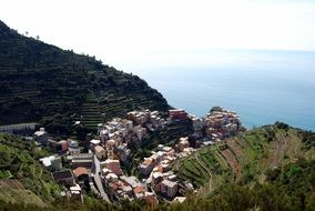 bird's-eye view houses in the village of Manarola, Cinque Terre, Liguria region of Italy