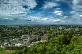 aerial view of city at summer, netherlands, groningen