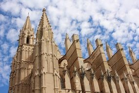 beautiful day view mallorca cathedral palma building