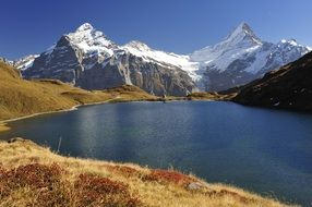 scenery mountain landscape with lake, switzerland