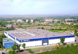 top view of new automobile factory building, kazakhstan