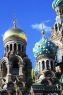 domes of Church of the Savior on Blood at sky, russia, Saint Petersburg
