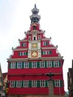 beautiful facade of old town hall with golden clocks, germany, esslingen