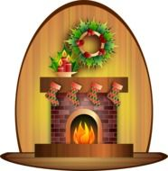candles and christmas decorations at fireplace, illustration
