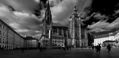 church of st vitus black and white photo