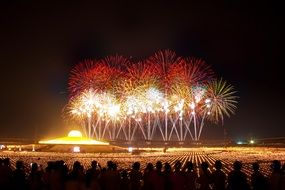 Colorful fireworks over dhammakaya pagoda