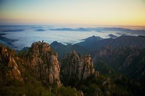 panorama of yellow mountains in china