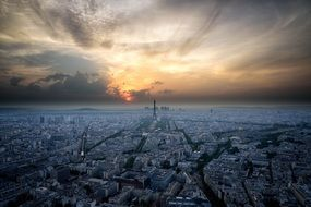 paris france skyline sunset