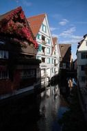 picturesque old buildings at water, germany, ulm