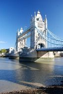 tower bridge across thames river at sunny day, uk, england, london water