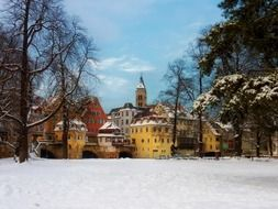 picturesque old city at snowy winter, germany, esslingen