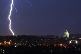 lightning strike at night, usa, washington