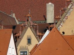 red tile gable roofs of houses in old town