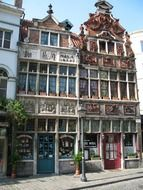 shops in beautiful old building, belgium, ghent
