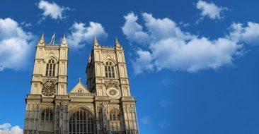 Towers of Westminster abbey at sky, uk, england, london