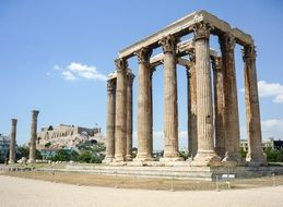 Temple of Olympian Zeus, antique ruin at sky, greece, athens