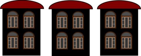 three brown houses with red roofs, illustration