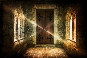 haunted castle, beams of light at closed door in old stone hall, artwork