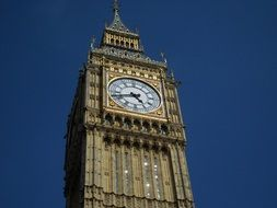clock on big ben tower at sky, uk, england, london