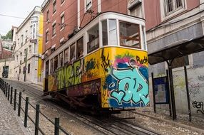 tram lisboa steep cart europe
