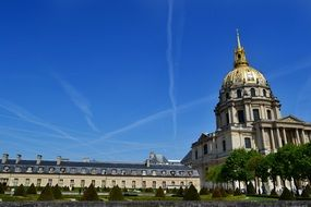 the Dome of Les invalides at sky, france, paris